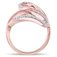 Catherine Malandrino 1/6 CT TW Diamond Leaf Ring in 18k Rose Gold Plated Sterling Silver
