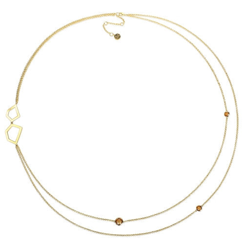 3 1/2 CT TGW Citrine 2-Strand Geometric Station Necklace in 18k Yellow Gold Sterling Silver