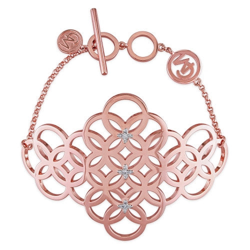 Catherine Malandrino 1/10 CT TW Diamond Circle Linked Cluster Bracelet in 18k Rose Gold Plated Sterling Silver