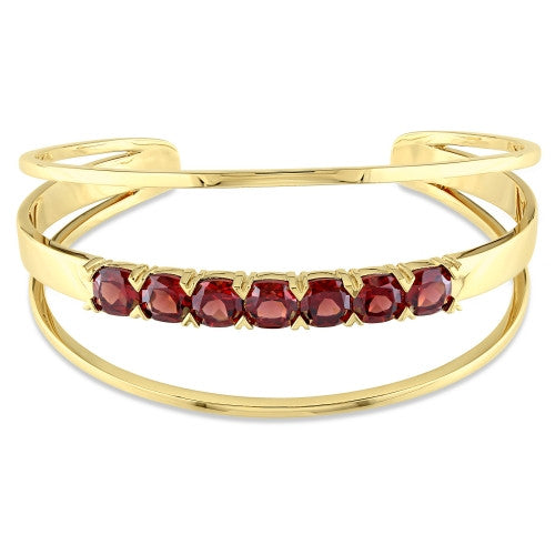 8 3/4 CT TGW Garnet Open Wrap Cuff Bracelet in 18k Yellow Gold Plated Sterling Silver