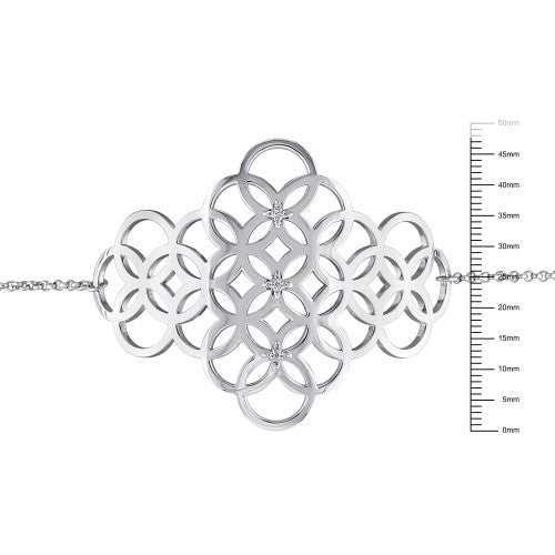 Catherine Malandrino 1/10 CT TW Diamond Circle Linked Cluster Bracelet in Sterling Silver
