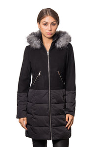 Wool blend zip front coat with padded polyester twill lower half