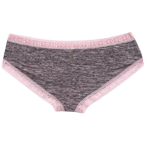 Microfiber Marl with Lace Trim Cheeky Underwear