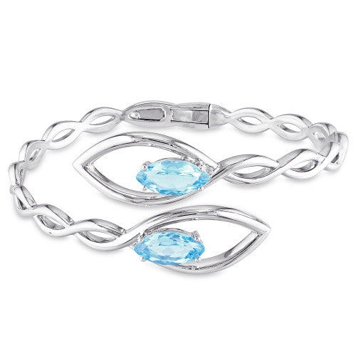 4 CT TGW Swiss Blue Topaz Braided Bypass Open Cuff Bracelet in Sterling Silver