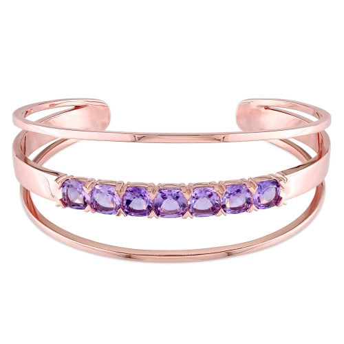 Catherine Malandrino 5 7/8 CT TGW Amethyst Open Wrap Cuff Bracelet in 18k Rose Gold Plated Sterling Silver