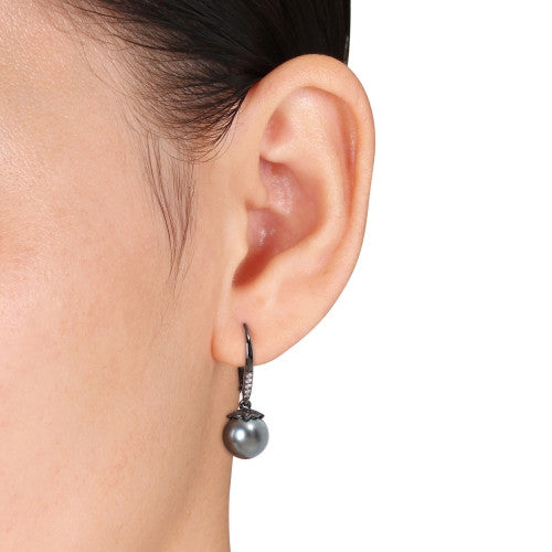Black Tahitian Cultured Pearl and 1/10 CT TW Diamond Leverback Earrings in Black Rhodium Plated Sterling Silver