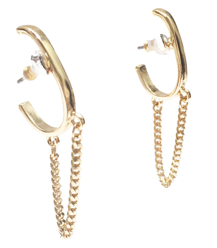 Hoop Earrings with Chains