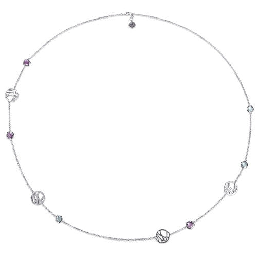 Catherine Malandrino 8 3/4CT TGW Blue Topaz and Amethyst Station Necklace in Sterling Silver