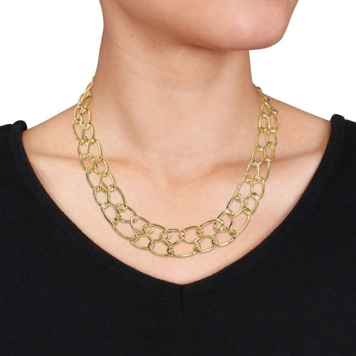 Catherine Malandrino Double Row Link Choker in 18k Yellow Gold Plated Sterling Silver