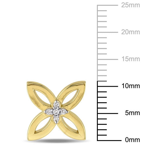 Diamond Four Leaf Stud Earrings in 18k Yellow Gold Plated Sterling Silver