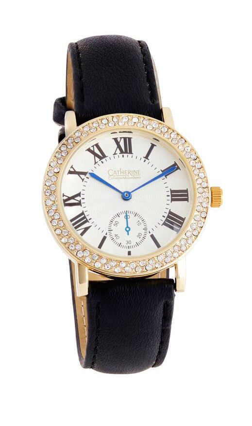Black Rhinestone Watch with White Face