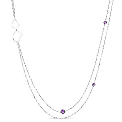 3 1/2 CT TGW Amethyst 2-Strand Geometric Station Necklace in Sterling Silver