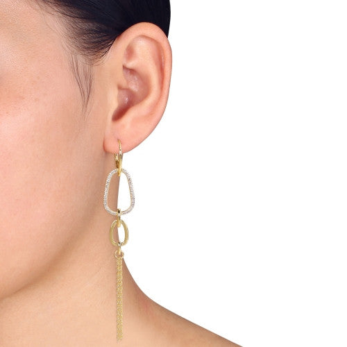 Catherine Malandrino 1/4 CT TW Diamond Abstract Tiered Lariat Leverback Earrings in 18k Yellow Gold Plated Sterling Silver