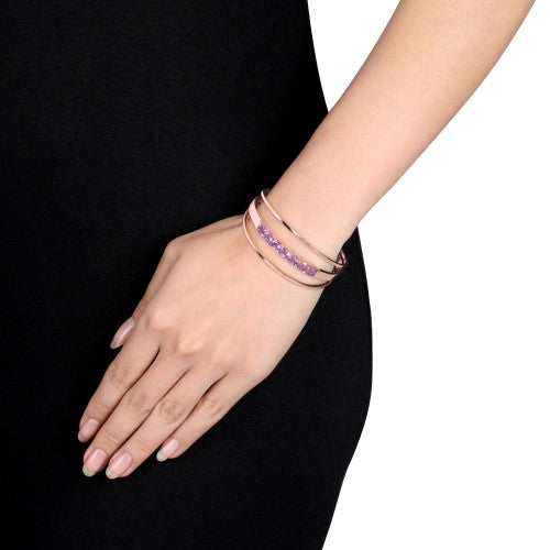 5 7/8 CT TGW Amethyst Open Wrap Cuff Bracelet in 18k Rose Gold Plated Sterling Silver