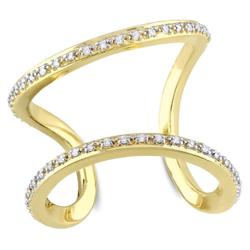 Catherine Malandrino 1/5 CT TW Diamond Open Wrap Ring in 18k Yellow Gold Plated Sterling Silver