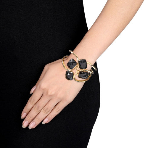 60 CT TGW Black Agate Interlace Cuff Bracelet in 18k Polished Yellow Gold Plated Sterling Silver