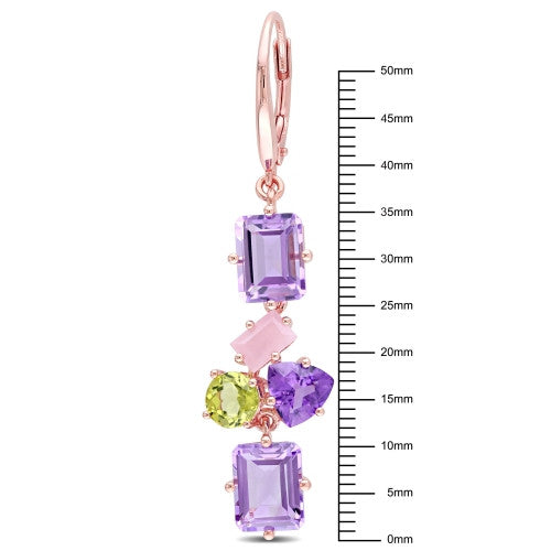 14 1/5 CT TGW Amethyst, Guava Quartz and Peridot Cluster Drop Leverback Earrings in 18k Rose Gold Plated Sterling Silver