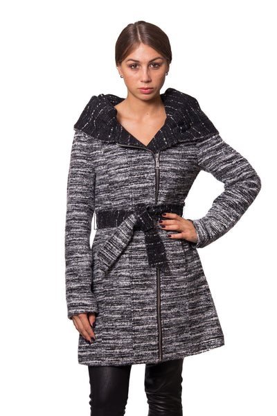 Knit Look Textured Wool Coat with Oversized Hooded Shawl Collar