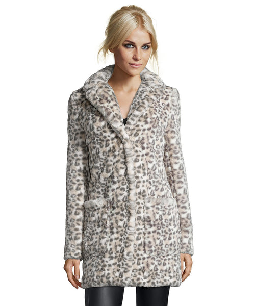 Catherine Malandrino Faux Fur Coat Grey-Multi Last One