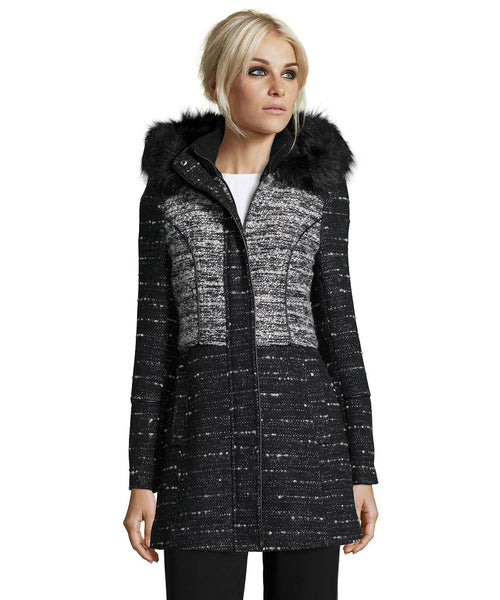 Black/White Wool Coat with Detachable Hood