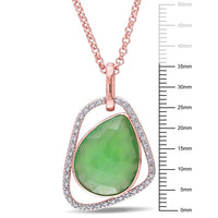 Catherine Malandrino 10 CT TGW Green Onyx and 1/5 CT TW Diamond Abstract Pendant with Chain in 18k Rose Gold Plated Sterling Silver