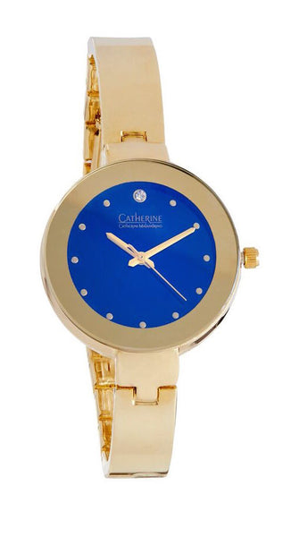Gold Watch with Royal Blue Face
