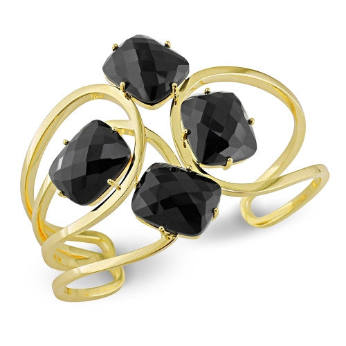 Catherine Malandrino 60 CT TGW Black Agate Interlace Cuff Bracelet in 18k Polished Yellow Gold Plated Sterling Silver