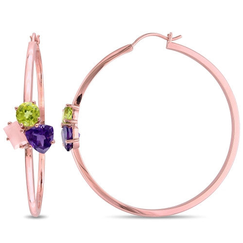 Catherine Malandrino 4 4/5 CT TGW Amethyst, Guava Quartz and Peridot Cluster Hoop Earrings in 18k Rose Gold Plated Sterling Silver