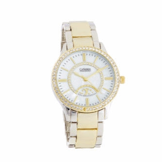 Two Tone Gold Watch with White Face