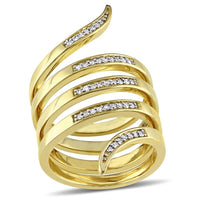 Catherine Malandrino 1/5 CT TW Diamond Wrap Ring in 18k Yellow Gold Plated Sterling Silver