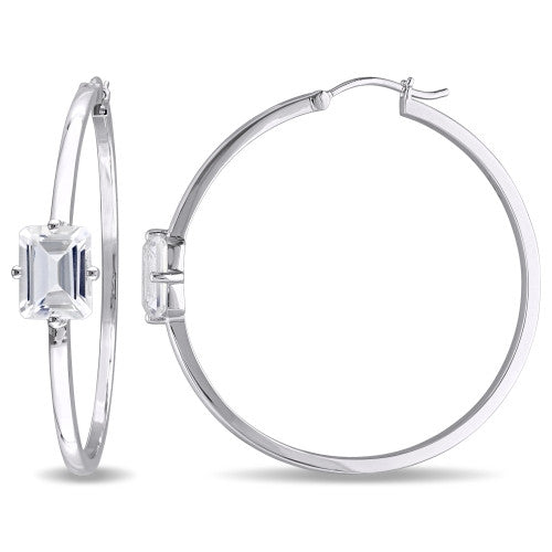 Catherine Malandrino 5 1/2 CT TGW White Topaz Hoop Earrings in Sterling Silver