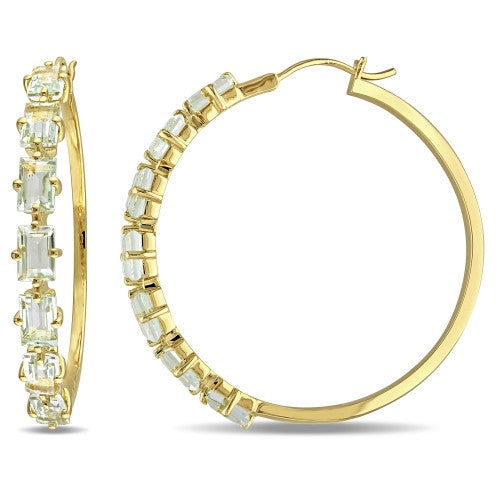 7 3/4 CT TGW Green Amethyst Hoop Earrings in 18k Yellow Gold Plated Sterling Silver
