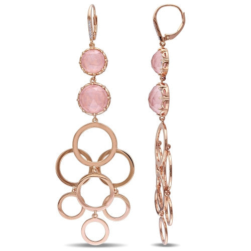 20 4/5 CT TGW Guava Quartz and Diamond Circle Linked Drop Leverback Earrings in 18k Rose Gold Plated Sterling Silver