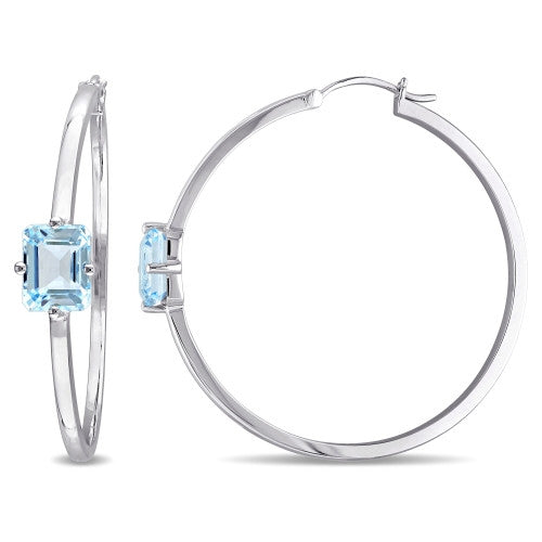 Catherine Malandrino 5 1/2 CT TGW Blue Topaz Hoop Earrings in Sterling Silver