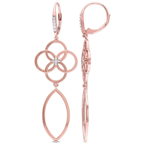 Catherine Malandrino 1/6 CT TW Diamond Circle Linked Drop Leverback Earrings in 18k Rose Gold Plated Sterling Silver