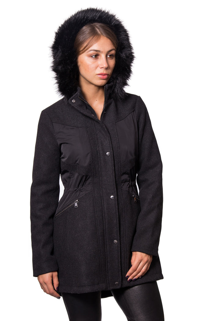 Wool Blend Pressed Twill Coat with Polyester Twill Combo and Cire Quilted Upper Body Lining