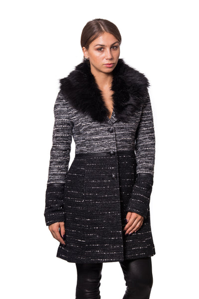 Textured Wool Coat with Leather Trim