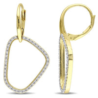 Catherine Malandrino 1/4 CT TW Diamond Abstract Leverback Earrings in 18k Yellow Gold Plated Sterling Silver