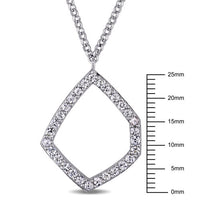 Catherine Malandrino 1 1/2 CT TGW White Sapphire Geometric Necklace in Sterling Silver