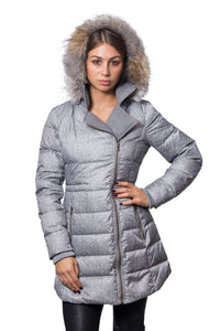 Wool Printed Polyester Cire Down Coat with Heavy Wool Facings and Faux Fur Trim