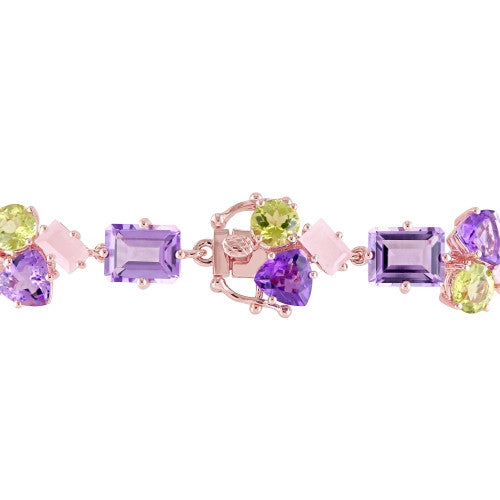 Catherine Malandrino 33 1/4 CT TGW Amethyst, Guava Quartz and Peridot Cluster Bracelet in 18k Rose Gold Plated Sterling Silver