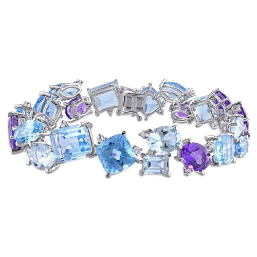 63 3/4 CT TGW Amethyst, Sky Blue and Swiss Aquamarine Topaz and Sapphire Cluster Bracelet in Sterling Silver