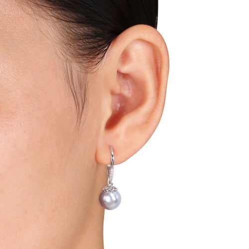 Grey Freshwater Cultured Pearl and 1/10 CT TW Diamond Leverback Earrings in Sterling Silver