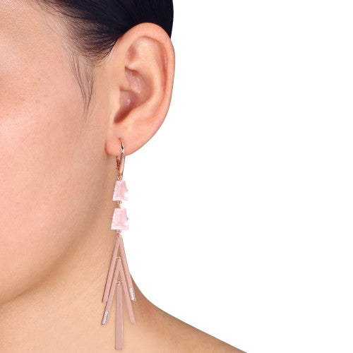 Catherine Malandrino 6 3/8 CT TGW Rose Quartz and 1/10 CT TW Diamond Geometric Drop Leverback Earrings in 18k Polished Rose Gold Plated Sterling Silver