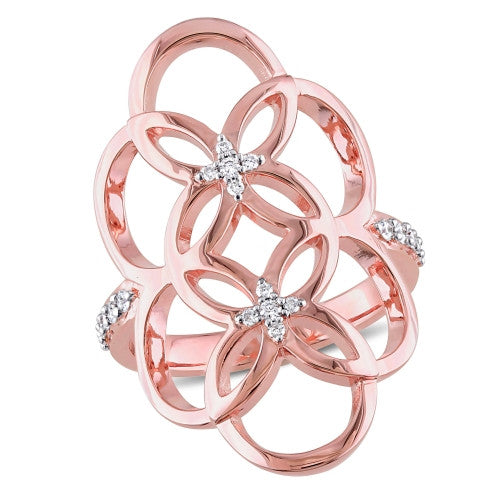 Catherine Malandrino 1/6 CT TW Diamond Circle Linked Floral Ring in 18k Rose Gold Plated Sterling Silver