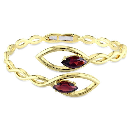 4 CT TGW Garnet Braided Bypass Open Cuff Bracelet in 18k Yellow Gold Plated Sterling Silver