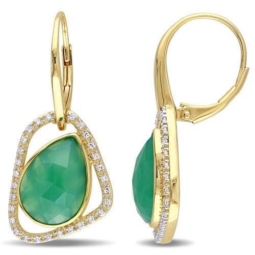 Catherine Malandrino 7 1/3 CT TGW Green Onyx and 1/4 CT TW Diamond Abstract Leverback Earrings in 18k Yellow Gold Plated Sterling Silver
