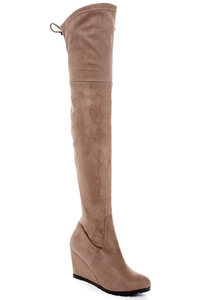 Catherine Catherine Malandrino Bartley Womens Fashion Faux Fur-Lined Wedge Boots