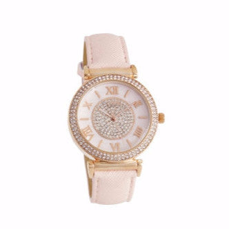 Pink Rhinestone Watch with Pink Face