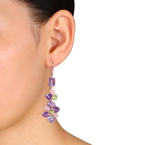 Catherine Malandrino 27 CT TGW Amethyst, Guava Quartz and Peridot Cluster Drop Leverback Earrings in 18k Rose Gold Plated Sterling Silver
